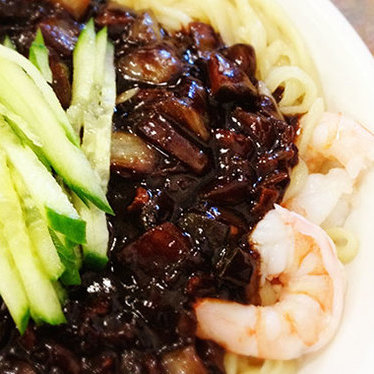 Noodles w/ plum sauce at San Wang Restaurant