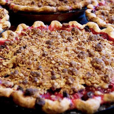 Strawberry rhubarb pie at Chile Pies & Ice Cream