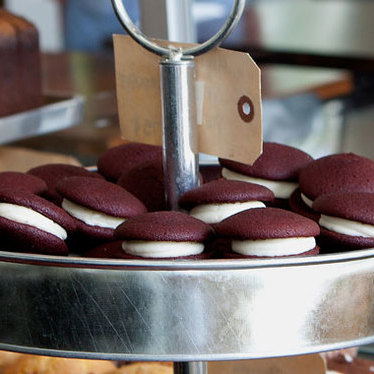 Mini red velvet whoopie pies at Area Four