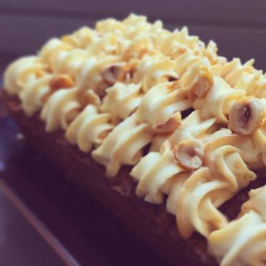 Carrot cake: dulce de leche frosting, candied hazelnut garnish at The Modern Pantry