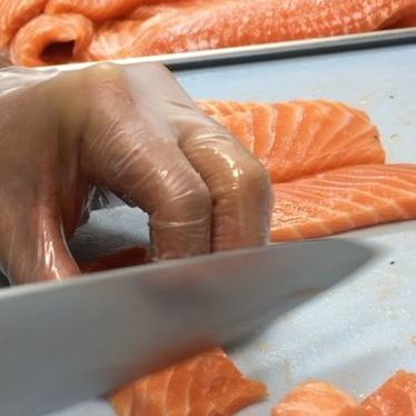 Fresh salmon slices at My Ceviche Brickell