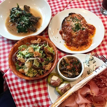 Veal saltimbocca, chix parm, antipasto & Caesar salad at Coppa