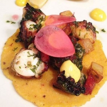 Charred Octopus Tacos at Red | seven
