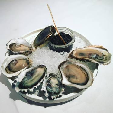 Oysters and California caviar at Farallon