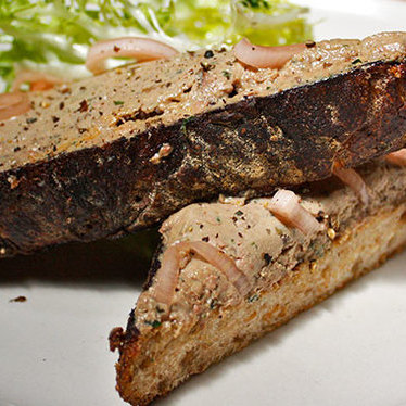 Chopped duck liver on toast at Bar Agricole
