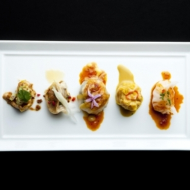 Chinese chive crystal dumplings at WP24 by Wolfgang Puck
