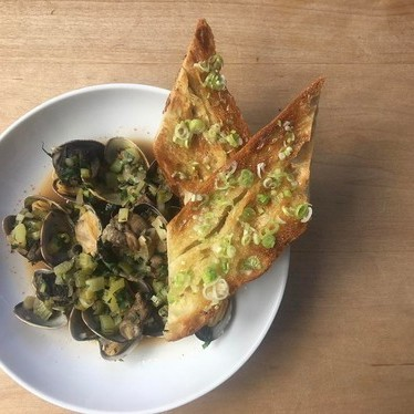 Escargots, Manila clams, white wine, spring onion, celery, green garlic toast at Restaurant St Jack