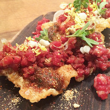 Beef tartare with natto crisp at Namu Street Stall
