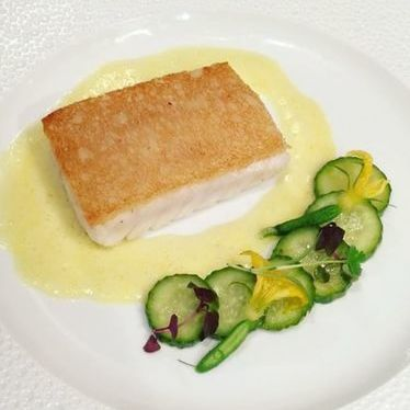 Crusted red Snapper w spiced cucumber & white Balsamic at Le Bernardin