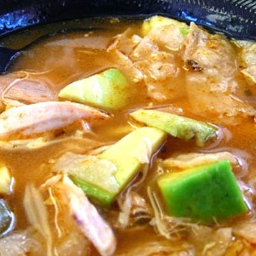 Famous chicken tortilla soup at El Rey Cuban & Mexican Cuisine