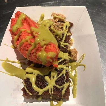 Strawberry cake with pistachio at Superiority Burger