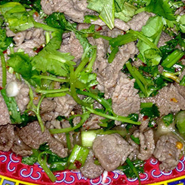 A2: Nam tok w/ beef at Asia Market