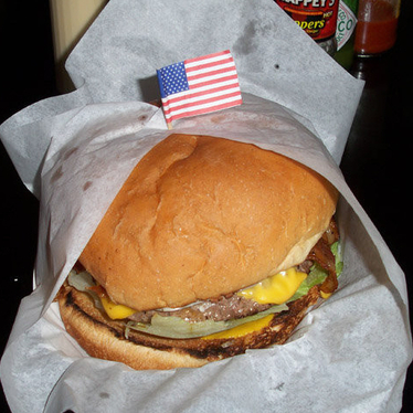 Double buffalo cheeseburger at Bubba's Texas Burger Shack