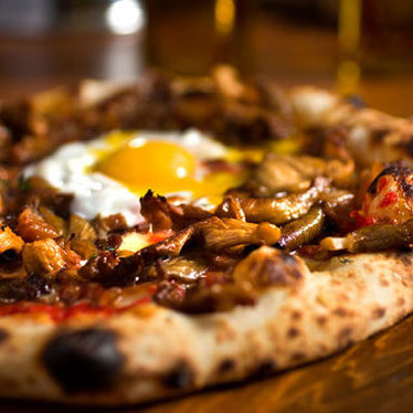 Wild mushroom pizza at Domenica