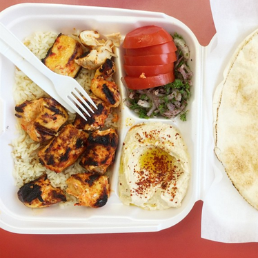 Chicken Kebab Plate at Falafel Arax