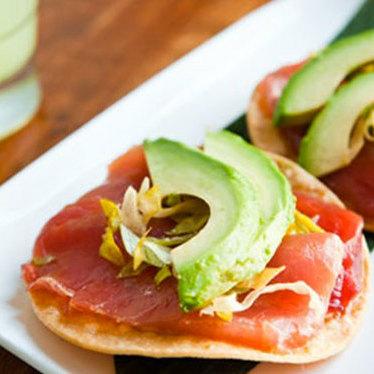 """Albacore tuna tostadas """"Contramar-style"""" at Tacolicious"""