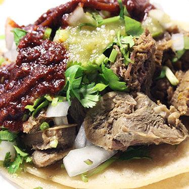 Lengua tacos at Taqueria El Si Hay