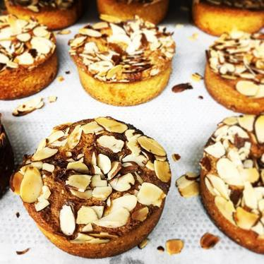Polenta almond cakes, rhubarb vanilla jam, gluten free at Manresa Bread