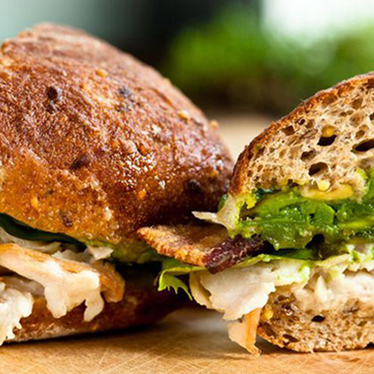 Turkey, bacon + avocado sandwich at Homegrown