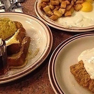 Ultimate country fried steak and eggs platter at Heidi's Pies Family Restaurant