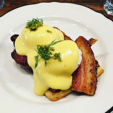 Braised Bacon Benedict at Clementine Cafe