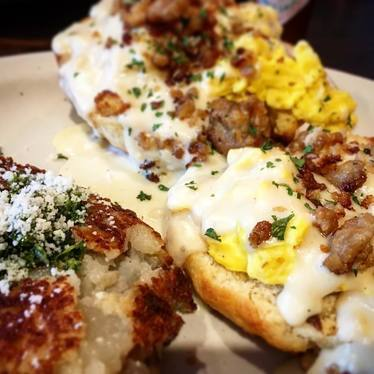Eggs, sausage, and biscuits at Nate's Garden Grill