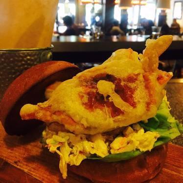 Soft shell crab sandwich at Calafia Cafe
