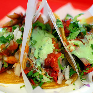 Tacos de adobada at Tacos El Gordo