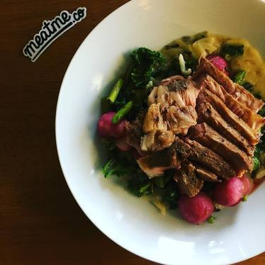 Pork, kale, asparagus, radishes, mustard sauce at Fable