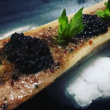 Bacon crusted bone marrow with caviar at Knife