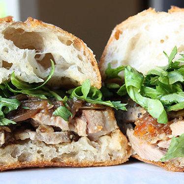 Porchetta sandwich at Roli Roti Gourmet Rotisserie