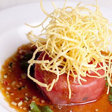 Tuna tartare w/ crispy wontons at Mistral