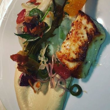 Mediterranean halibut and blood orange at Porto
