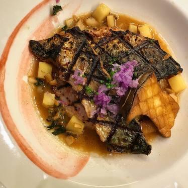 Mackerel with rice cake, dashi, mushroom, sweet potato, purple turnip, salted plum, and shiso at The Salt Line