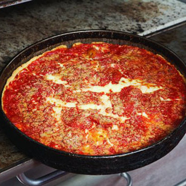 Deluxe deep-dish pizza at Lou Malnati's Pizzeria