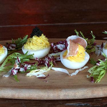Embellished deviled eggs at The Lion's Share