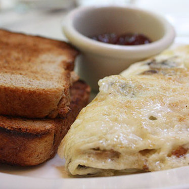 Three egg-white omelet w/ spinach & feta at Longhi's