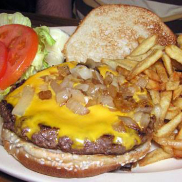 Basic beefburger w/ cheese at Top-Notch Beefburgers