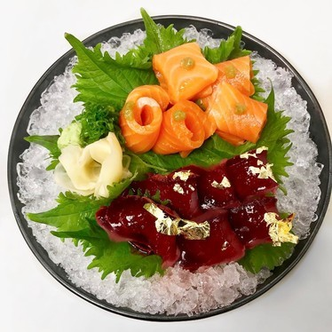 House Smoked Salmon- Yuzu Kosho, Beet Nikiri Tuna- Gold at Departure