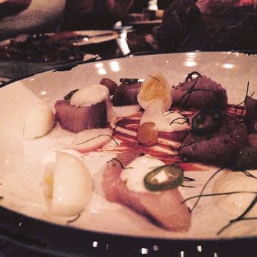 Hamachi w/ quail egg and Serrano pepper at Toro