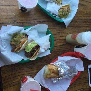 Tacos dorados + Tacos de carnitas + Tacos de cabeza. at La Taqueria