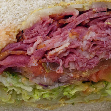 Pastrami sandwich on Dutch crunch at Little Lucca