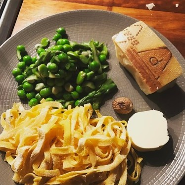 Peas, pasta and Grand Padano parmesan at Sartoria
