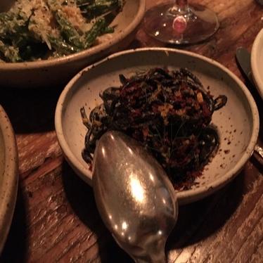 Chilled squid ink noodles, bottarga, fennel at Octavia