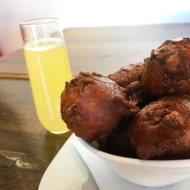 Apple fritters and mimosas at HŌM