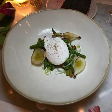 Asparagus, chanterelles, poached egg at abcv
