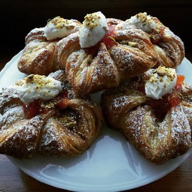 Pistachio puffs with blood orange marmalade and honey miti crema at milk glass mrkt