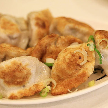 Pan fried chive & pork dumplings at Dim Sum Garden