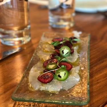 Halibut crudo with cherries, serrano chiles, basil, and mint cilantro oil. at Copita Tequileria y Comida