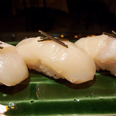 Kelp-cured scallops at Kisaku Sushi